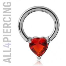 Кольцо с кристаллом СЕРДЕЧКО
