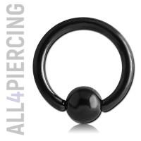Кольцо с шариком, черная сталь