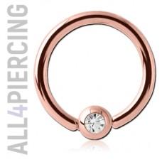 """Кольцо с кристаллом, покрытие """"розовое золото"""""""