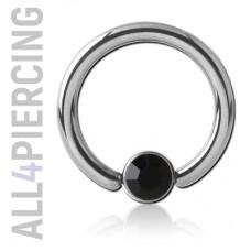Кольцо с кристаллом в диске, титан