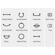 Типы украшений для пирсинга